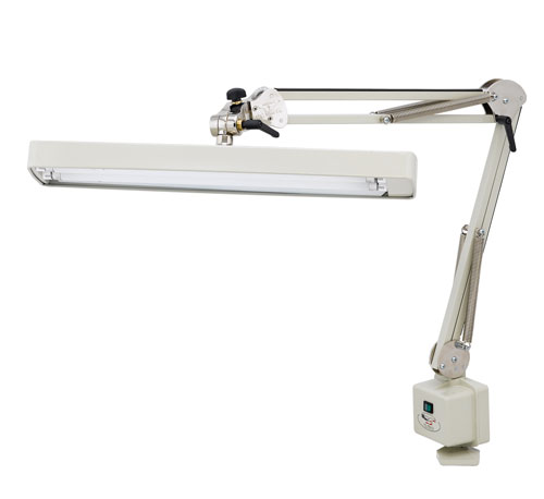 "Deluxe Draftsman Lamp with Safety Caps - 37"" Reach with Table Edge Clamp"