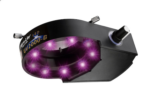 Micro-Lite® Ultraviolet (395nm) LED Ring Illuminator with 9 Extreme Output LEDs