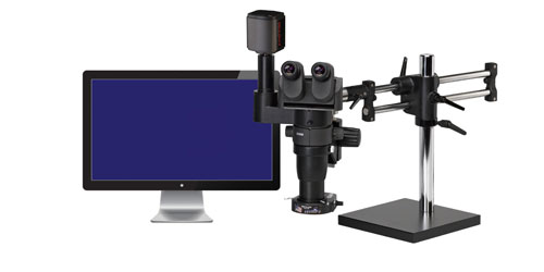 Ergo-Zoom® Ergonomic Trinocular Microscope with Monitor - 8-65x Magnification